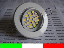 FARETTO LED INCASSO 120° GU10 BIANCO CALDO 3w 220v SUPPORTO BIANCO