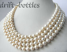 4Strands 18'' 8mm Round White Freshwater Pearl  Necklace