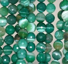 """10MM GREEN AGATE GEMSTONE GREEN SWIRLS FACETED ROUND 10MM LOOSE BEADS 15"""""""