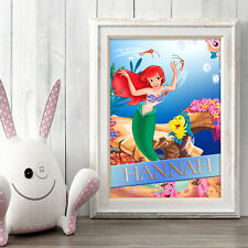 Little Mermaid arielpersonalised Poster A5 print wall art tout nom ✔