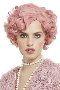 Deluxe 20s Flirty Flapper Wig Pastel Pink Short & Wavy Heat Resistant/Styleable