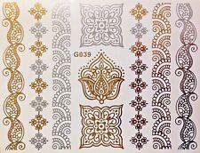 Tattoo Einmal Flash Klebe Temporary Gold Silber 9teile Henna Armband Kette G39