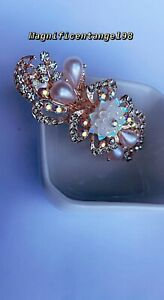 Crystal Zircon hair barrette flower white & pink jewelry for woman