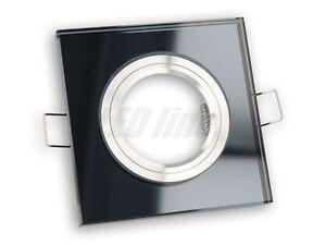 3 Stück Alu/Glas EINBAURAHMEN FÜR GU10 oder MR16 FIXED ECKIG BLACK / SCHWARZ