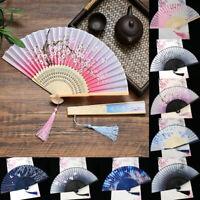 Chinese Hand Held Dance Fan Folding Silk Bamboo Flower Wedding Party For Women