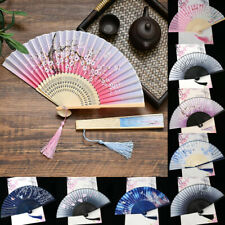 Chinese Hand Held Dance Fan Folding Silk Bamboo Flower Wedding Party For Women