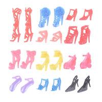 12 Pairs Mixed Random Fashion  Doll High Heels Shoes Doll Accessor SP