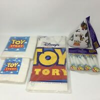 Original Toy Story Party Supplies Lot - Tablecloth, Hats, Napkins, Paper Blowers