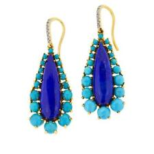 Rarities Gold-Plated Oval Lapis, Turquoise, White Zircon Drop Earrings HSN $170