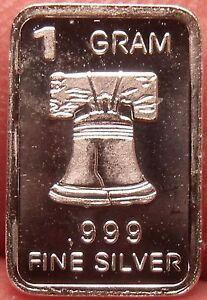 Gem Proof .999 1 Gram Silver Bullion Bar~Liberty Bell