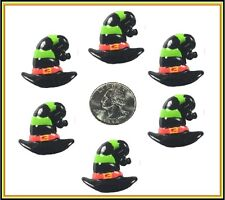 6 PC HALLOWEEN HAUNTED BLACK WITCH HAT FLATBACK FLAT BACK RESINS