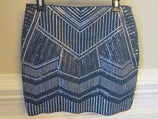 NWT EXPRESS Skirt TURQUOISE PEWTER SEQUIN Beaded Bling ART DECO MINI SKIRT M