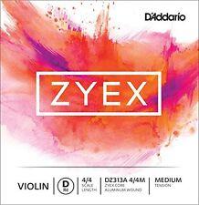 D'Addario Zyex Violin Single Aluminum D String, 4/4 Scale, Medium Tension