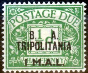 Tripolitania 1950 1l on 1/2d Emerald SGTD6 Fine MNH