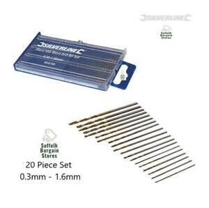 Silverline 20 Piece Micro Mini Small Drill Bit Set HSS Wood/Metal Rotary Dremel