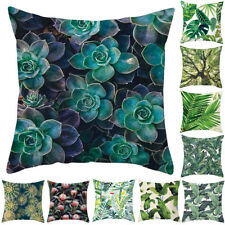 HK- Green Leaves Polyester Pillow Case Throw Sofa Cushion Cover Home Decor Fashi