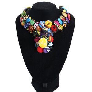 Women Bohemian Button Choker Necklaces Pendants African Fabric Handmade Jewelry