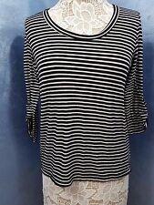 FlashMob High Low Hem Black & White Stripe 3/4 Sleeve Women's Juniors XL Soft