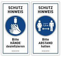 2x Hygiene Hinweis Schild Aufkleber | DESINFEKTION ABSTAND HALTEN | Virus Schutz