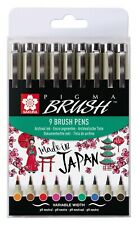 Sakura Pigma Artist Drawing Brush Pens Set of 9 Assorted Colours