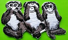 Three 3 Wise Monkeys See Hear No Evil Embroidered Cut Out Iron On Patch Quality