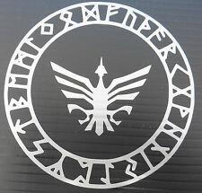 Odins Rune protección círculo Dioses Mitos Magia sticker/car/window / 5373 Plata