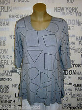 New Jersey: tunique shirt 3/4 bras A-ligne viscose gris/noir 3xl Look 50/52