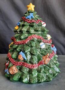 Vintage R. H. Macy & Co., Hand Painted Ceramic Christmas Tree Cookie Jar - 1993