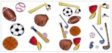 LETS PLAY BALL Basketball Football Kids Self Adhesive 25 Wall Appliques Decals