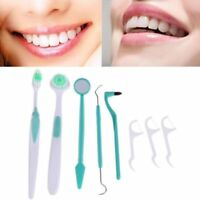8PCs Oral Dental Care Tooth Brush Kit Floss Stain Tongue Pick Teeth Clean Tool