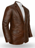 Vintage Men's Genuine soft Lambskin Leather Blazer Jacket TWO BUTTON Coat Jack