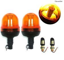 2x Din Pole Mount Led Emergency Strobe Orange Signal Lights Lamp Threaded Spigot