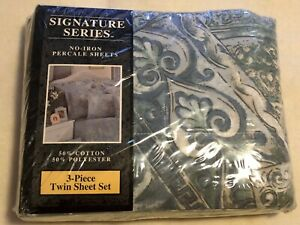 SIGNATURE SERIES NO-IRON PERCALE 3-Piece TWIN SHEET SET, 50% COTTON MADE IN USA