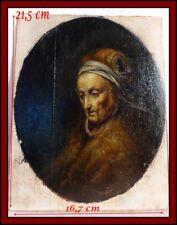 École Hollandaise XIXe Huile Sur Bois Portrait d'Une Femme Âgée Gérard Dou 17e