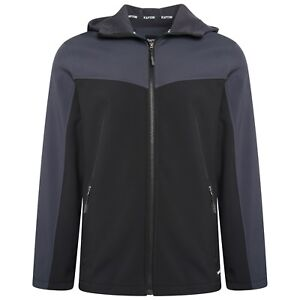 Mens Black Grey Soft Shell Full Zip Hooded Outdoor Jacket Top Size M -  5XL