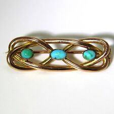 Rose Gold Entrelac Brooch Art Nouveau Turquoise 9ct