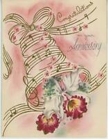 VINTAGE ORCHID FLOWERS BELL PINK FORGET ME NOTS WEDDING ANNIVERSARY CARD PRINT