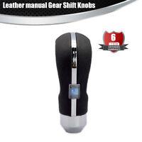 Sliver 5 6 Speed Car Manual Transmission Gear Shift Knob Aluminum + Leather