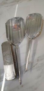 vintage Birmingham silver 1962 - 1963 ornate decoration hand mirror and brush se