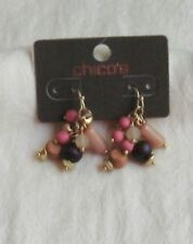"Multi Bead Earrings Chicos Goldtone ""Rose Cluster"""