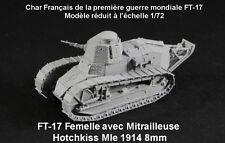 FT-17, mitrailleuse Hotchkiss mle 1914 8mm, char français, Renault, WWI, 1/72