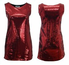 Ladies Plus Size Sparkly Red Sequin Sleeveless Dress Party Wear Girls  Womens