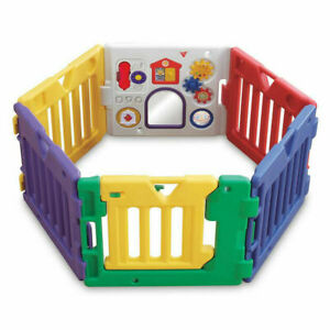 6 Panels Jolly Kidz Portable Folding Magic Fun Playpen Safety Gate 6 activities