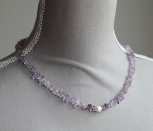 """PINK AMETHYST & WHITE CULTURED PEARL NECKLACE ~ 19"""""""