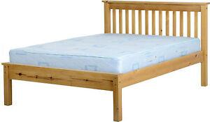 MONACO BED DOUBLE 4ft6 LOW FOOT END SOLID ANTIQUE PINE
