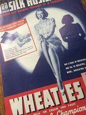 1938 WHEATIES Cereal SILK STOCKINGS Hosiery Pin Up Girl Advertising Vintage