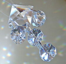 5 Clear Prism Crystal Ornament Suncatcher, Octagon and Square Prisms,