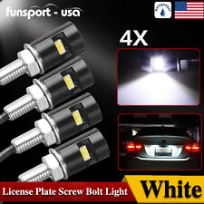 4x Universal Auto Motorcycle White SMD LED License Plate Stud Scew Bolt Light