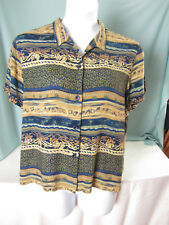 Norton McNaughton Essentials Blouse XL Shirt Navy Blue Gold Green All Rayon EPOC