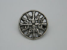 Ltd Pierced Button Brooch 1961 Birmingham Solid Silver W H Darby & Sons